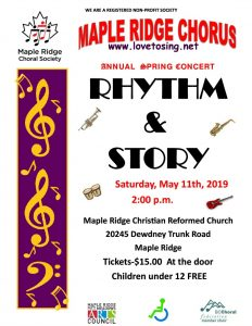 Maple Ridge Chorus 2019 Spring Concert Poster